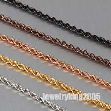 """2.4mm Elegant Stainless Steel Necklace French Rope Chain Various Lengths 18""""-40"""""""
