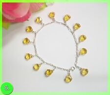 New AAA Natural Citrine Beads Anklets , Teardrop, faceted, sparkling design