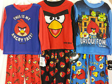New with Tag Angry Birds 2 Piece Long Sleeve Pajamas Boys' Sz 4,6 Red Black Blue
