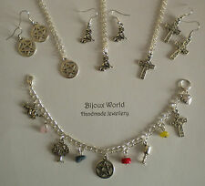 Silver Plated PAGAN WICCAN Jewellery Necklace Earrings Charm Bracelet Set