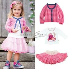 3pcs Baby Girl Kid T-shirt Coat+Top+Skirt Tutu Dress Outfit Costume Clothes 0-5T