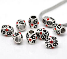 NEW Red Blue Pink Rhinestone Scroll Spacer Beads Fits European Charm Bracelets