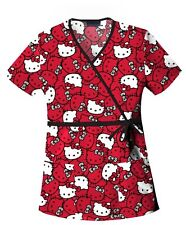 Cherokee Scrubs Hello Kitty Faces Scrub Top 6627C HKFA by Tooniforms