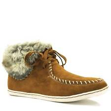 Womens Fashion Lace Moccasin Ankle Loafer Bootie Faux-Fur Sneaker Bamboo Sidony
