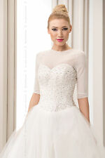NEW Bridal Ivory/White/Black Tulle Bolero Shrug Wedding Jacket S/M/L/XL/2XL-B113