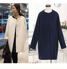 2013 Chic TOP Celebrity New Womens Coat Wool Single-breasted Loose Long Jackets