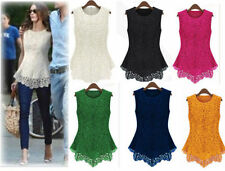 M266 ladies sleeveless Embroidery lace back zipper top shirt blouse size 6-16