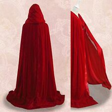 New Stock Red Velvet Hooded Cloak Cape Wedding Wicca Cloak SCA Size S M L XL XXL