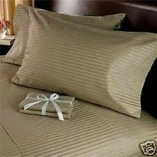 Sale 1000TC 100%Cotton Complete UK Bedding Collection Taupe Striped Choose Items