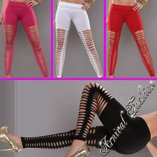 NEW SEXY WOMEN'S RIPPED LEGGINGS size 6 8 10 12 14 LADIES rip HOT PANTS CLUBWEAR