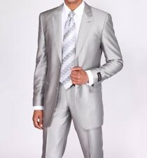 New Men's Luxurious Two Button Slim Fit Wool Feel Suit 57021B Solid Silver