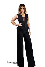 Womens Inbunsong Jersey V Neck Wide Leg Peplum Cut Out With Mesh Party Jumpsuit