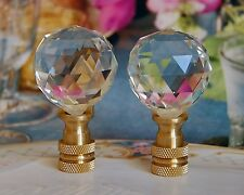 SET OF 2 GLASS CRYSTAL BALL - LAMP SHADE FINIAL - 30MM