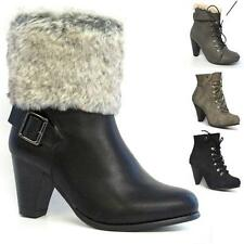 LADIES HIGH HEELS BIKER BOOTS WOMENS GIRLS ARMY ANKLE RIDING WINTER SHOES SIZE
