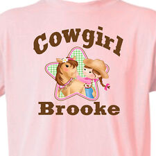 """PINK """"COWGIRL"""" T-SHIRT Youth_Infant GIRL & HORSE T-Shirt Equine -FREE KID'S NAME"""
