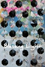 Black and Clear- Lead Glass Crystal - Octagon Chandelier - Prisms Chains