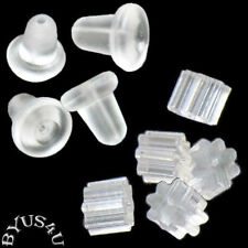 EARNUT BEAD HUGGER PROTECTOR EARRING BACK choice of styles CLEAR  FREE SHIPPING