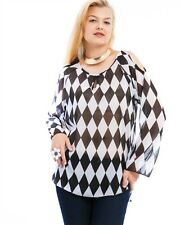 Diamond Print Tunic Top, Cold Shoulder, Flowing Sleeve, Slimming, Monochrome