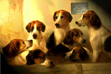 "Fox Hunting Big-Eyed Puppy Dogs Poster Art Print - in 3 sizes up to 24x36"" - 007"