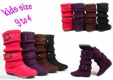 Girl's Kid's Cute Sweater Top  Low Flat  Heel Zipper Boot Shoes NEW Size 9 - 4