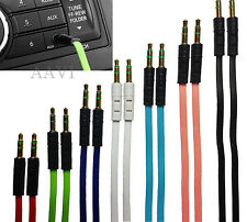 FLAT Colorful Gold Plated Auxiliary Car Music Aux Cable Cord for iPod MP3 Phones