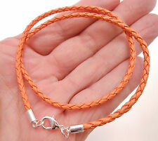 Braided Leather 3mm Cord Surfer Necklace w/ Lobster Clasp- Harvest Orange
