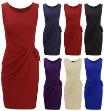 New Womens Plus Size Big Bow Dress Ladies Sleeveless Party Ponte Shift Size 8-24
