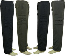 Mens New Elasticated Fleece Lined Cargo Combat Winter Trousers Thermal Walk Pant