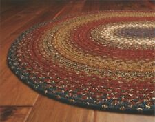 Cotton Braided Area Floor Rug Rectangle Oval Burgundy Blue Rustic Cottage Cabin