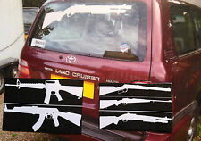 GUN STICKERS: FULL(LIFE) SIZE PUMP ACTION SHOTGUN, 5 DESIGNS FOR YOUR TRUCK