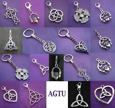 PICK YOUR CELTIC CHARM Clip On Silver Irish Celtic Knot Claddagh Ring Keychain