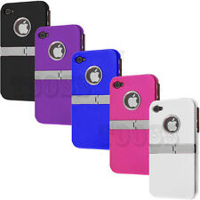 DELUXE RUBBER HARD COVER CASE W/ CHROME STAND For Apple iPhone 4 4S 4G 4GS 4G