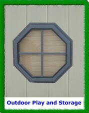 """OCTAGON SHED WINDOW PLAYHOUSE BARN OUTDOOR BUILDING  GLASS 14"""" BROWN"""
