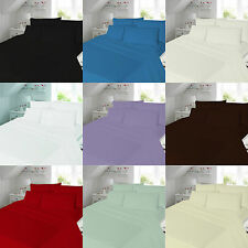 Plain Flannelette Set with Fitted Sheet, Flat Sheet Set & Pillow Case 3 Sizes