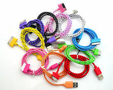 Fabric Braided 30Pin 2in1 USB Data Sync Cable &Charger Cord Iphone 4 4S Ipad12
