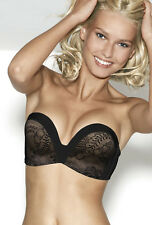 Wonderbra Ultimate Strapless Lace Bra 9469 Black Sizes 30-38 A-D cups
