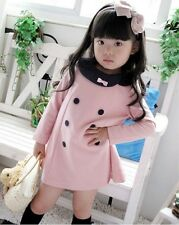 Girls Kids Long Sleeve Pink Tops Dresses 2-6Y Baby Party 1-Piece Clothes Lovely