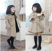Girl Trench Coat Wind Jacket SZ 3-8Y Kids Dress Outwear Double Breasted Clothing