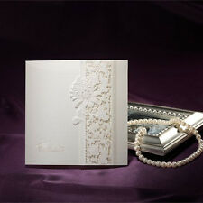 Delicate Ivory Lace Wedding Invitation Cards With Envelopes and Seals