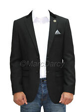 Mens Designer Herringbone Tweed Black Slimfit Blazer Casual Jacket VelvetPatches