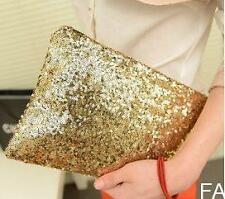 FA US Glitter Sparkling Sequins Clutch Evening Party Bag Handbag Bling Purse