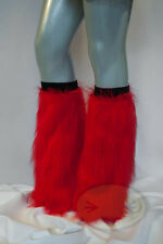 Red Fluffy Legwarmers Rave Wear Accessories