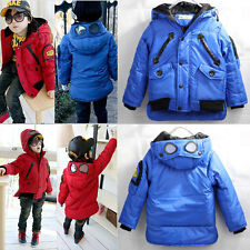 3-7Y Boys Funky Goggle Warm Winter Cotton Coat  Jacket Kids Clothing Outwear