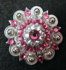 """Show 1.75"""" Western Rodeo Headstall Concho Baby PINK & CLEAR 1/ 4PC BERRY Crystal"""