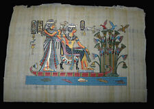 Egyptian papyrus genuine hand painted King Tut and wife in swamp