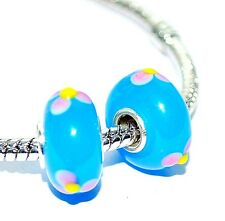 silver plated single core murano glass blue pink flower charm bracelet beads