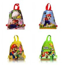 12pcs Super Mario Bros Kids Drawstring Backpack School Tote Bag,Kids Party Favor