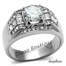 Men's 3.35 Ct Round Cut Simulated Diamond Silver Stainless Steel Ring Size 8-13