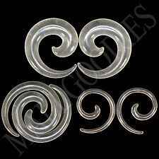 "V129 Clear Spiral Swril Stretchers Tapers Expanders 4 2 0 00G Gauges 1/2"" Plugs"