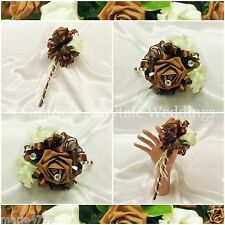 Foam Artificial Wedding Flowers Chocolate Brown & Ivory Roses Flower Girl Wand